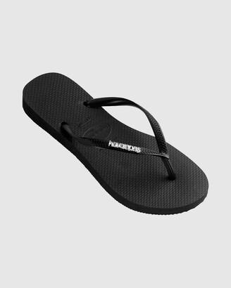 Havaianas Slim Metal Logo Thongs Black/Silver