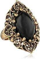"Barse Guinevere"" Ornate Onyx Ring, Size 8"