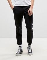 Farah Slim Cropped Hopsack Trouser In Black