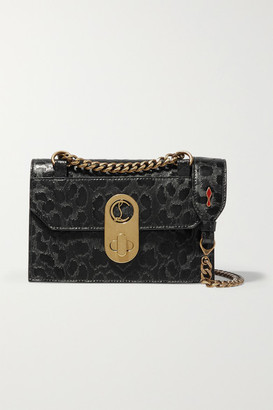 Christian Louboutin Elisa Mini Leopard-print Matte And Glossed-leather Shoulder Bag - Black