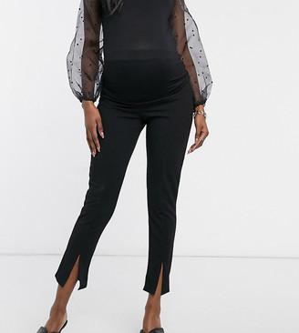 Missguided Maternity cigarette pants with split hem in black