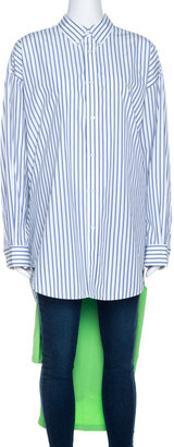 Balenciaga Bicolor Striped Cotton T-Shirt Detail Oversized Shirt S