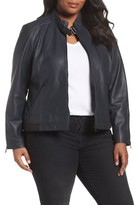 Bernardo Plus Size Women's Jetta Knit Detail Leather Scuba Jacket
