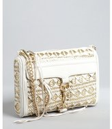 Rebecca Minkoff white and gold ikat woven leather 'Mac' convertible shoulder bag