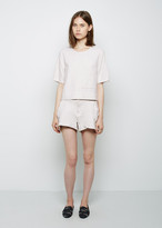 Raquel Allegra Leather Combo Shorts