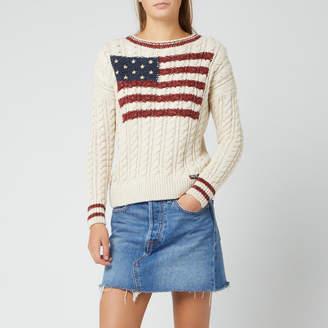Superdry Women's American Intarsia Knit Jumper - Winter White - UK 8