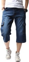 Yollmart Men's Straight Denim Short Cropped Trousers Jeans