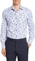 David Donahue Paisley Trim Fit Dress Shirt