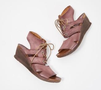 Miz Mooz Leather Lace-Up Demi-Wedge Sandals-Sierra