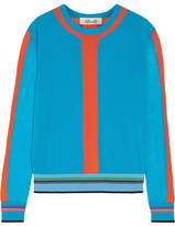 Diane von Furstenberg Color-block Cotton-blend Sweater - Azure
