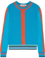 Diane von Furstenberg Color-block Cotton-blend Sweater