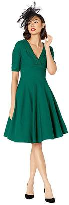 Unique Vintage 1950s Delores Swing Dress with Sleeves (Emerald Green) Women's Dress