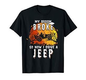 b-ROOM My Broom Broke So Now I Drive a Jeeps Funny Halloween gift T-Shirt