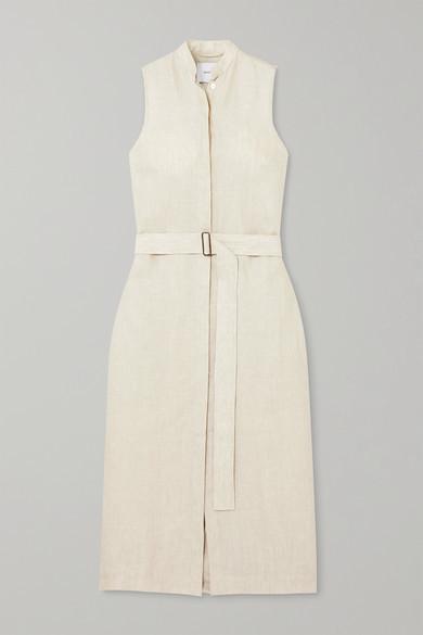 BONDI BORN Belted Linen Midi Dress - Taupe