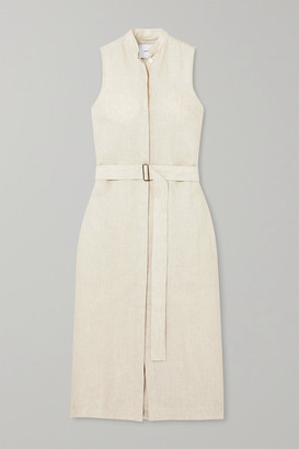 BONDI BORN Belted Linen Midi Dress - Taupe