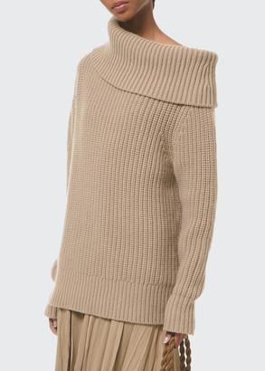 Michael Kors Collection Cuff-Neck Shaker Cashmere Sweater