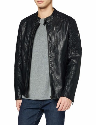 GUESS Men's Quilted Eco Leather Jacket