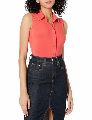 Tommy Hilfiger Women's Collared Button Down Sleeveless Top