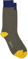 Barneys New York Men's Striped Mid-Calf Socks-BLUE