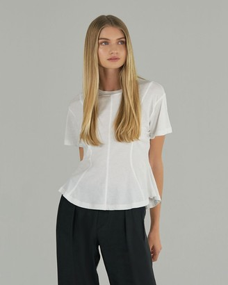 Atm Classic Jersey Short Sleeve Seam Detail Tee - White