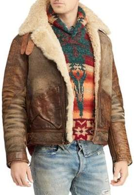 Polo Ralph Lauren Shearling Leather Bomber Jacket
