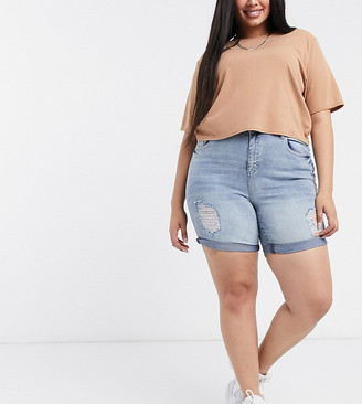 Yours ripped longline denim shorts in light auth blue