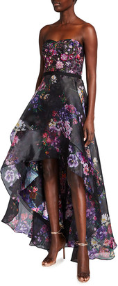 Marchesa Notte Floral Printed Organza Strapless High-Low Gown