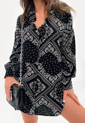 Missguided Black Bandana Print Oversized Dip Back Shirt Dress