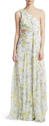 Cinq à Sept Goldie One-Shoulder Floral Silk Gown
