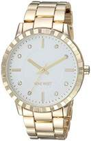 Nine West Women's NW/2282SVGP Crystal Accented -Tone Bracelet Watch