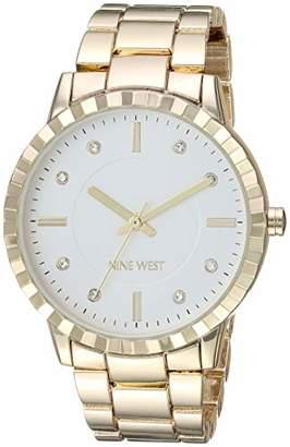 Nine West Women's NW/2282SVGP Crystal Accented -Tone Bracelet Watch