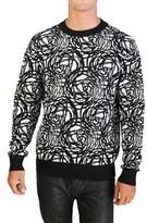 Christian Dior Virgin Wool Patterned Crewneck Sweater Black White.