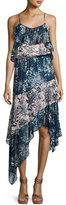 Parker Reuben Mixed-Print Handkerchief-Hem Slip Dress, Multicolor