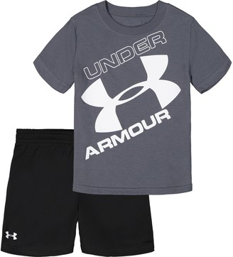 Under Armour Toddler Boy Tilted Big Logo Tee And Short Set