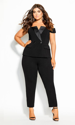 City Chic Sexy Tuxe Jumpsuit - black