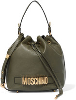 Moschino Textured-leather Bucket Bag - Army green