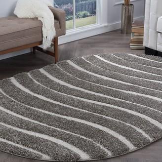 Alise Rugs Waverly Shag Contemporary Stripe Oval Area Rug - 5'3 x 7'3