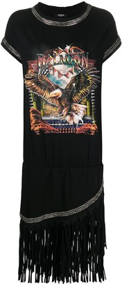 Balmain eagle print T-shirt dress