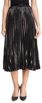 Diane von Furstenberg Heavyn Metallic Plissé; Midi Skirt
