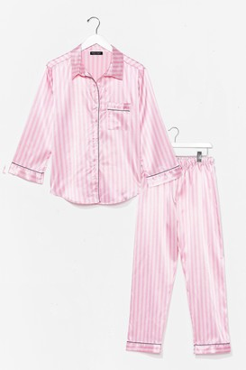 Nasty Gal Womens Sweet Lovin' Satin Stripe Pajama Pants Set - Pink