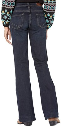 Rock and Roll Cowgirl Mid-Rise Trousers and Clean Pocket in Dark Wash W8M6096