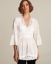 Catherine Malandrino Embroidered Stretch Cotton Tunic