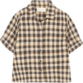The Great The Bias cropped checked cotton shirt