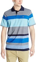 Southpole Men's Engineered Stripe Single Jersey Polo with Non Repeating Horizontal Stripes
