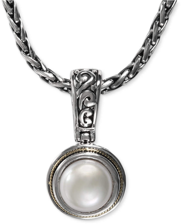Effy Cultured Freshwater Pearl Scroll Sides Pendant (10mm) in Sterling Silver and 18k Gold