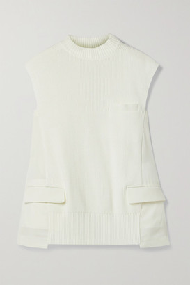 Sacai Paneled Ribbed Cotton-blend And Pleated Voile And Chiffon Top - Off-white