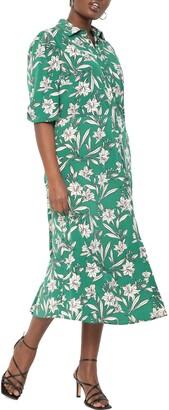 ELOQUII Floral Puff Sleeve Shirtdress