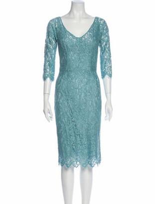 Dolce & Gabbana Lace Pattern Midi Length Dress Blue