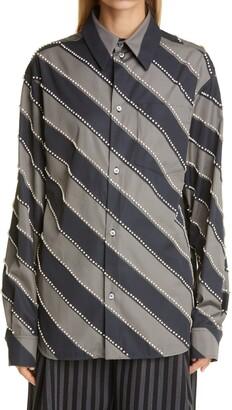Meryll Rogge Diagonal Stripe Crystal Embellished Button-Up Shirt