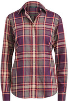 Ralph Lauren Petite Plaid Cotton Twill Shirt